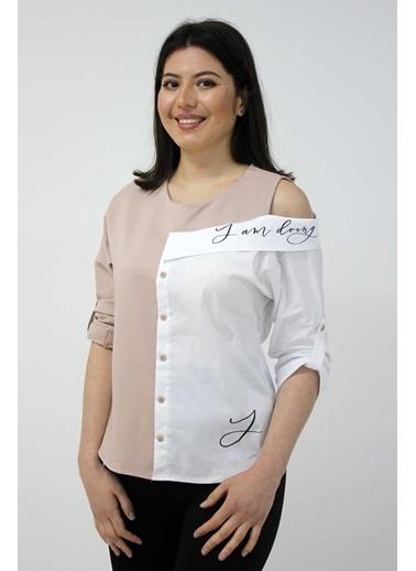 Clıche Yakalı Ve Askılı Omuz İşlemeli Bluz Vizon